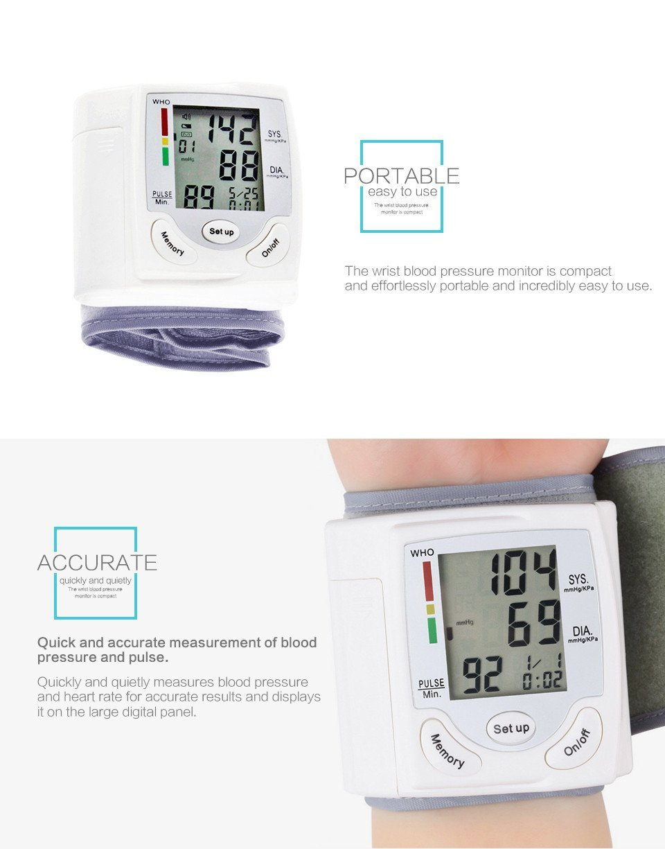 Blood Pressure Monitor Wrist Accurately Detects Blood Pressure Heart Rate & Irregular Heartbeat, Large LCD Display (CK-101S-White)