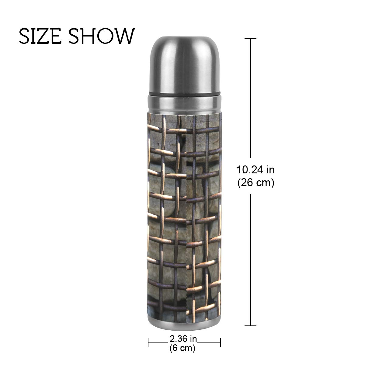 Wood Texture Floor Wall Pattern Line 500ML Stainless Steel Double Walled vacuum insulated water bottle Travel Mug Leather Cover Thermos 17 oz by Double Joy (Image #2)