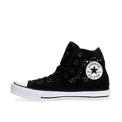 e09f76d1a149 CONVERSE - Chaussures Converse All Star Salut Crochet noir de haut avec  549308C tissu brodé -
