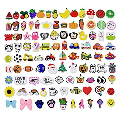 XHAOYEAHX 100pcs Different Shape Shoes Charms Fits for Croc Clog Shoes & Jibbitz Wristband Bracelet Party Gifts