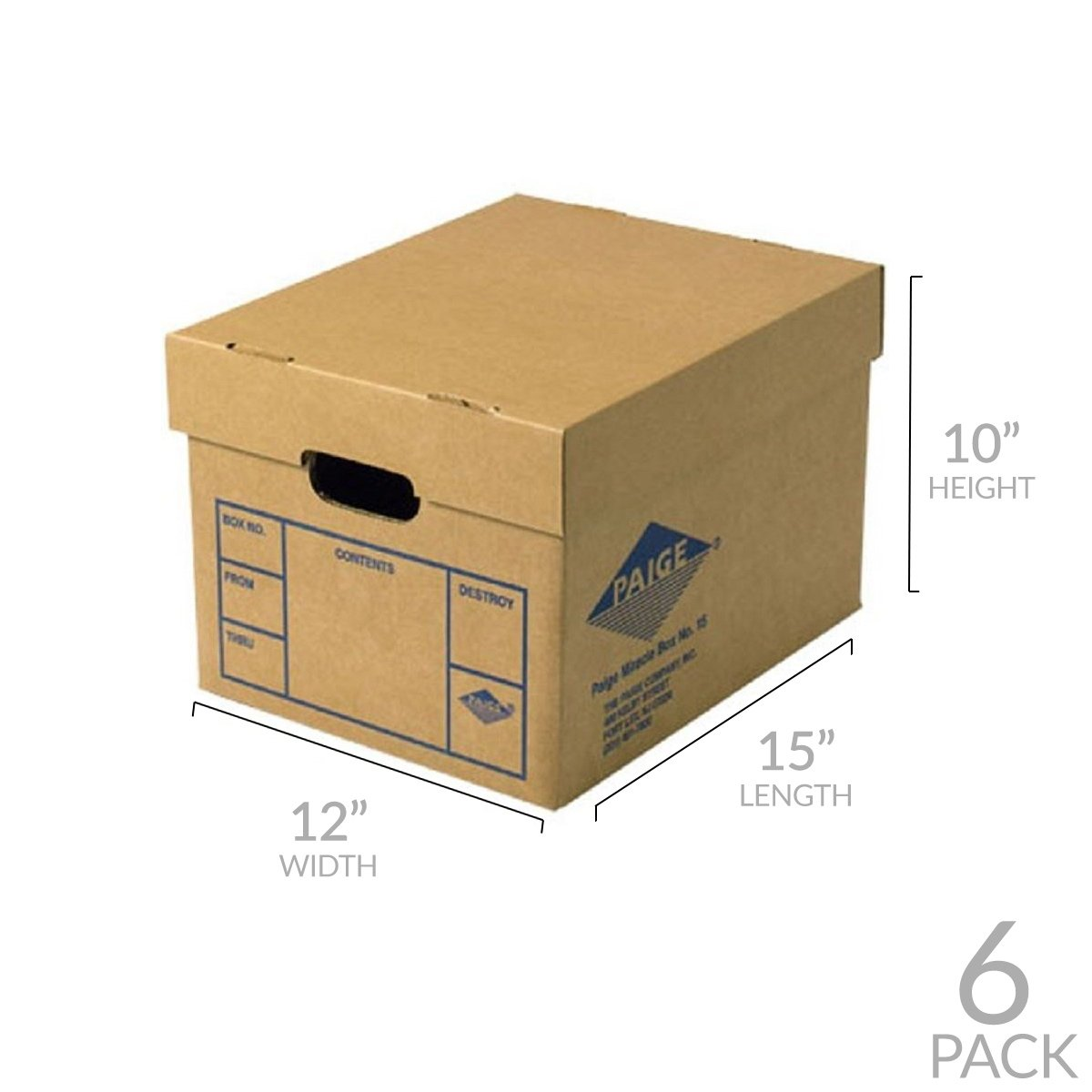 Office Moving & Storage Boxes (6 Pack) Miracle File Moving Boxes