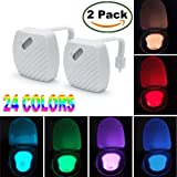 Aizbo 2-Pack Toilet Night Light Motion Activated 24 Colour LED Sensor Bowl Nightlight