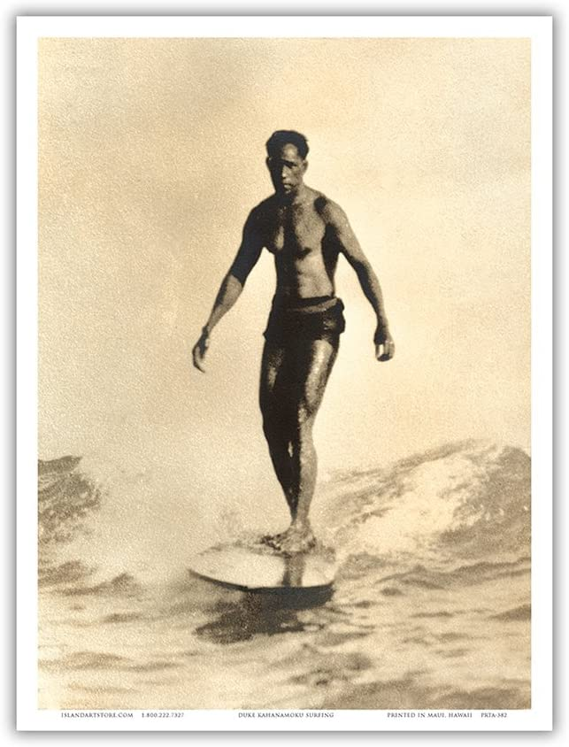 Duke Kahanamoku - Hawaiian Surfing - Vintage Sepia Toned Photograph by Frank S. Warren c.1930s - Master Art Print 9in x 12in