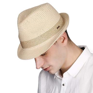 97a45255ded Jeff & Aimy Mens Panama Straw Fedora Trilby Summer Beach Sunhat Short Brim  Cuban Jazz Cap