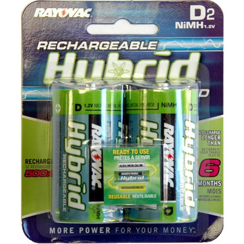 Rayovac Hybrid Rechargeable D NiMH Batteries (Pack of 2)