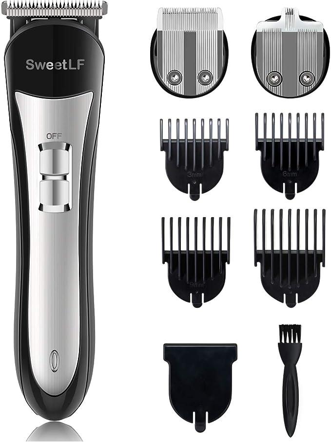SweetLF - Cortapelos eléctrico profesional para hombre, ajustable, con 3 cortapelos modelo y 4 peines limitados, kit para cortapelos y barba sin hilos impermeable: Amazon.es: Salud y cuidado personal
