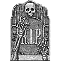 Amscan Creepy Cemetery Halloween Party Ghostly Arms Tombstone (1 Piece), Grey, 22""