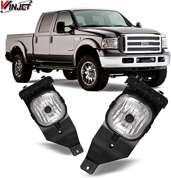 Headlight Assembly Set Compatible with 2005-2007 Ford F250 F350 F450 F550 Super Duty 2005 Ford Excursion Sealed Headlamp Replacement Passenger Driver Side Smoked