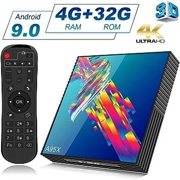 A95X TV Box Android 9.0 [4GB RAM + 32GB ROM] 4K Bluetooth 4.2 RK3318 Quad-core Cortex-A53 CPU 2.4G/5GHz WiFi Ethernet LAN100M H.265 3D Smart TV Box: Amazon.es: Electrónica