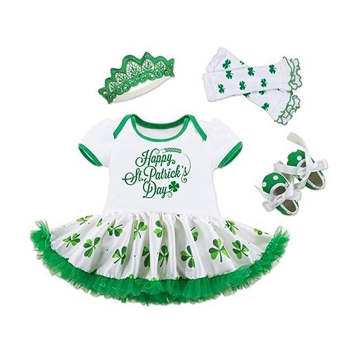 a0c047d5 WINZIK Infant Baby Girls Happy St. Patrick's Day Letters Print Romper  Bodysuit Dress+Shoes