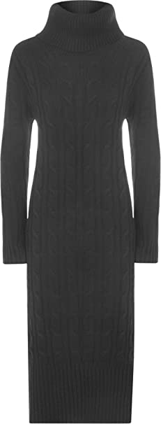 Women Ladies Cowl Polo High Neck Cable Knitted Maxi Midi Dress Jumper New