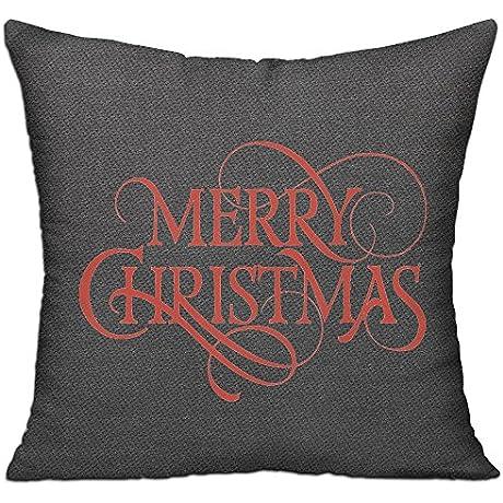 Merry Christmas Cotton Linen Throw Pillow Case Cushion Cover Home Sofa Decorative 18 X 18 Inch