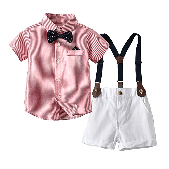 1680de56bc4f Gentleman Shirt Sets for Baby Boys Striped Short Sleeves Shirt Suspenders  Pants Summer Outfits Gift (
