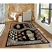 "African Decor Tribal Drums Animal Skin Print Area Rug Carpet (3' 11"" X 5' 2"")"
