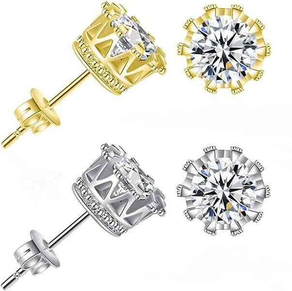 c4ab91f75 Gold Male Earrings Cubic Zirconia Stud Earrings Round Cut Mens Earring Studs  Crown Earring (Gold