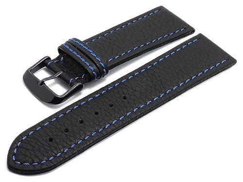 Meyhofer Uhrenarmband Tebessa 24mm schwarz blaue Naht schwarze Schließe MyHekslb111/24mm/schwarz/blN