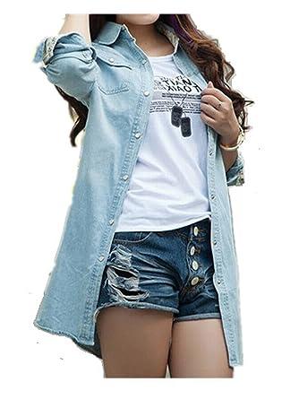 5572c752a6 YABEIQIN Women Lady Girl Retro Vintage Long Sleeve Jean Denim Shirt Top Blouse  Blue (XL