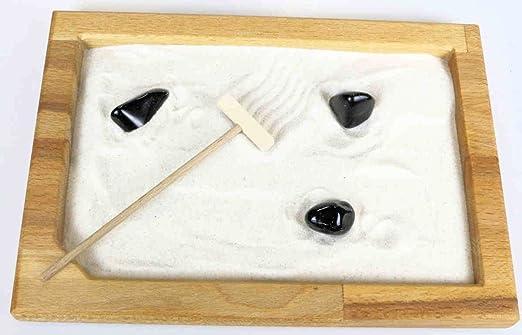 Jardín ZEN haya M con 3 piedras preciosas AB con Rastrillo y arena – Obsidian: Amazon.es: Hogar