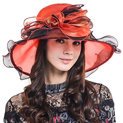 Womens Church Dress Derby Wedding Floral Tea Party Hat Ss-035 (Bow-Claret Black)