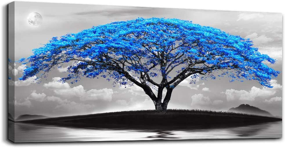 "canvas wall art for living room bathroom Wall Decor Black and white landscape Blue tree moon painting to Hang Home Decorations for office bedroom kitchen Works canvas Prints pictures 20"" x 40""inch"