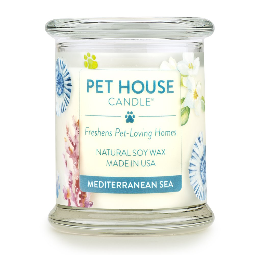 Pet House Candle in 15 Fragrances - All Natural Soy Wax Candle and Pet Odor Eliminator - Eco-Friendly, Non-Toxic, Paraffin-Free - 60-70-Hour Burn Time - Mediterranean Sea One Fur All 736902408933