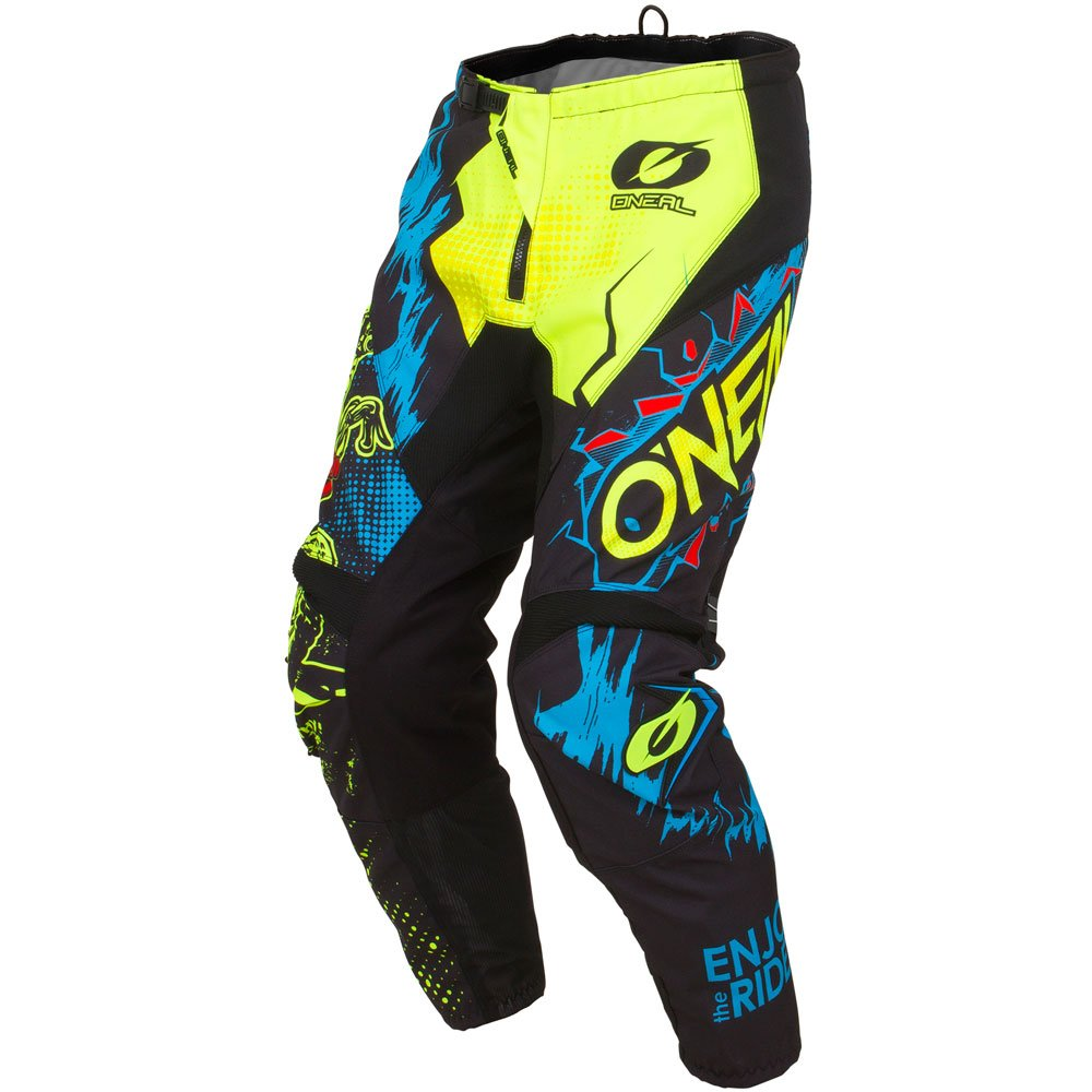 ONeal Element Villain Neon Yellow Adult motocross MX off-road dirt bike Jersey Pants combo riding gear set Pants W38 // Jersey X-Large