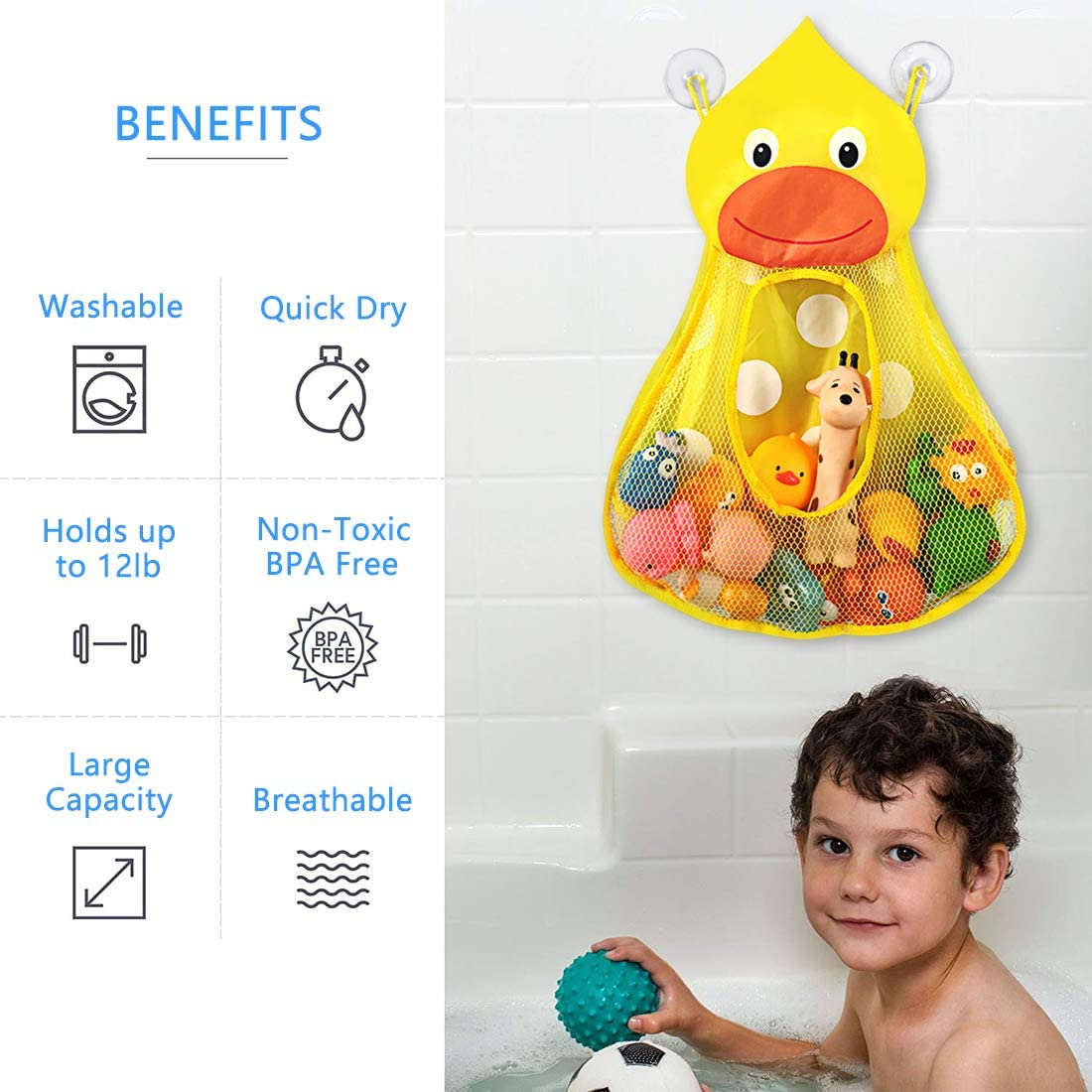 Bath Toy Net Storage Holder with Adhesive and 2 Suction Cup Hooks LinkIdea Bath Toy Organizer Bathtub Toy Organizer Holder 2pcs, Yellow