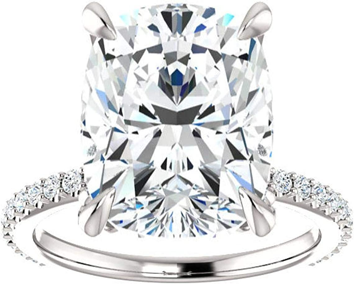 2.50 Ct Cushion Shape Diamond Solitaire Wedding Ring for Girls,14k Real Gold,925 Sterling Silver,Solitaire With Accents,Prong Setting,Size 7