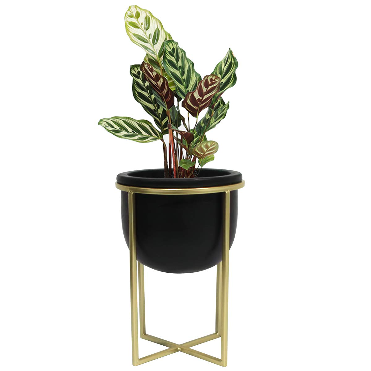 Flower Pot Mid Century Planter – 6.3 Inch Black Cement Round Decorative Tabletop Plant Pot Indoor with Gold Metal Stand for Succulents Cactus Herb Orchid, Desk Decor Gift