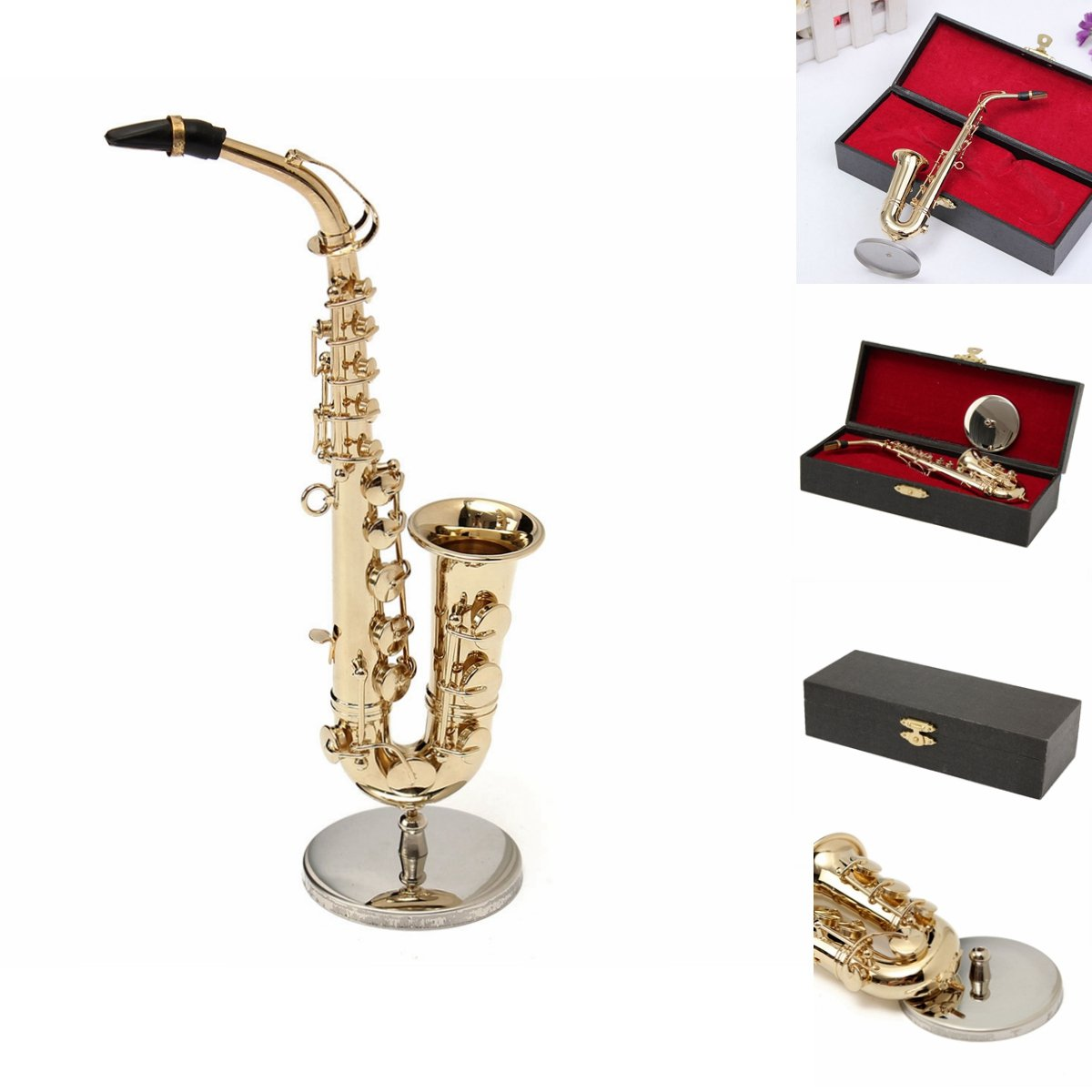 MECO 1/6 Model Saxophone Toys Alto Sax Mini Musical Instrument Leather Box Gift