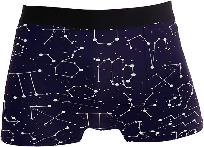 ZZKKO Constellation Star Mens Boxer Briefs Underwear Breathable Stretch Boxer Trunk with Pouch S-XL