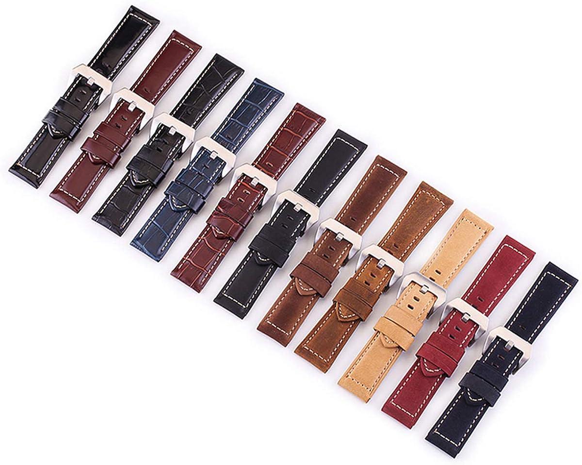 Vêtements pour Hommes Vintage Bracelet en Cuir Veau 20 mm 22 mm 24 mm 26 mm Bracelet en Cuir métal Ardillon Montre Accessoires S4