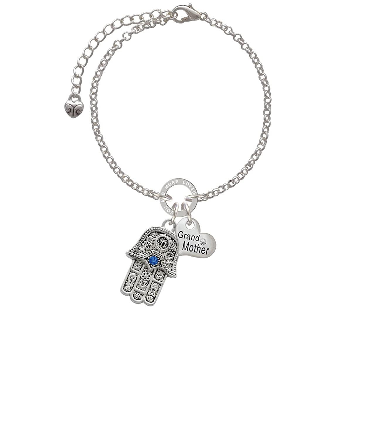 Silvertone Hamsa Hand with Blue Crystal Grandmother You Are Loved Circle Bracelet 8