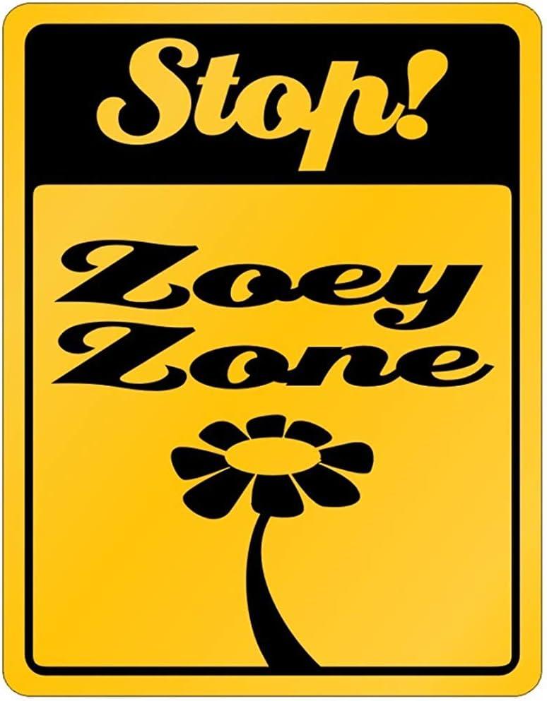 Fhdang Decor Stop! Zoey Zone - Cartel de aluminio con nombres personalizados para mujer, metal, multicolor, 12x18 inches