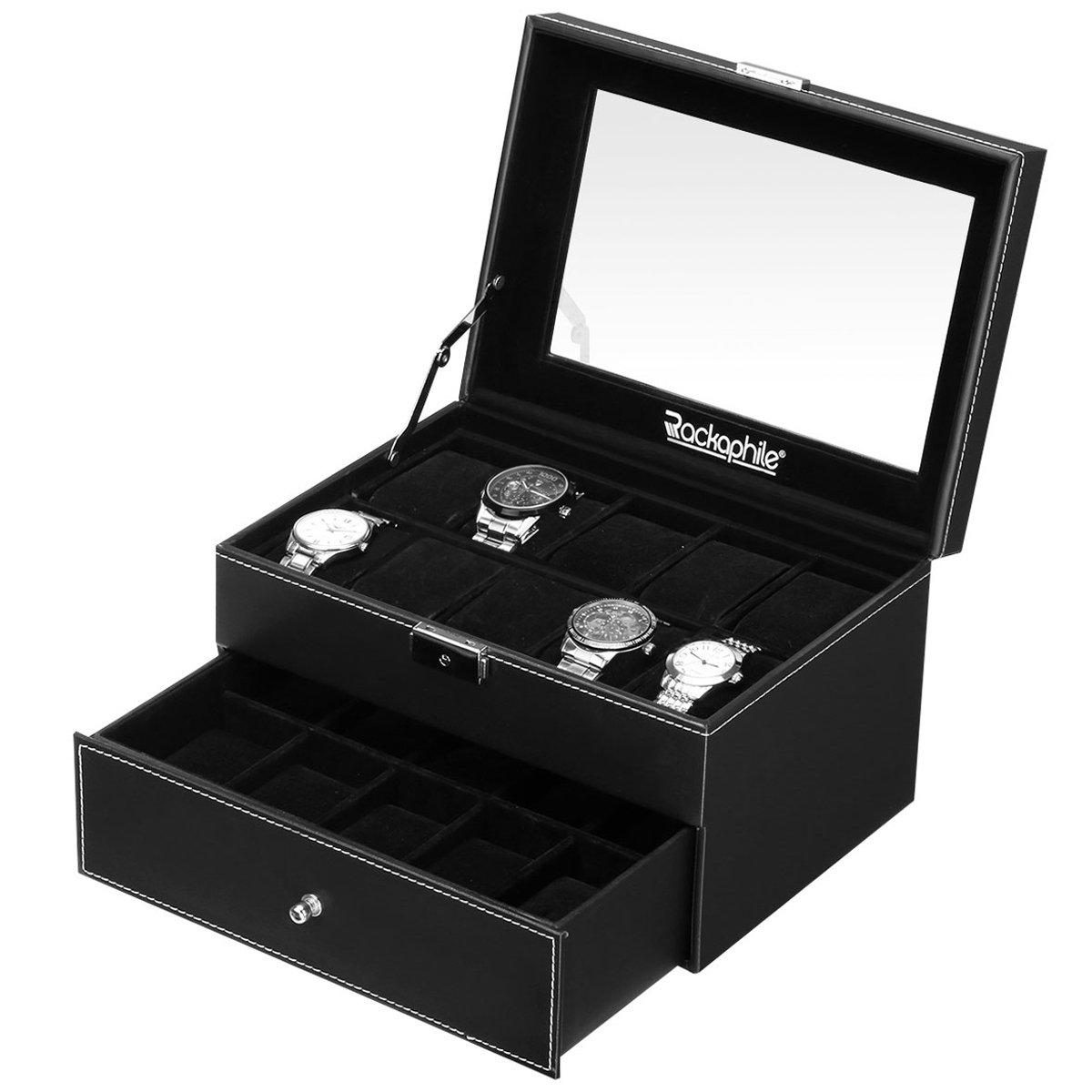 Rackaphile Watch Storage Box, 20 Slot Watch Display Case Leather Lockable Watch Organizer Box Jewelry Box Drawer Real Glass Men Women, Black