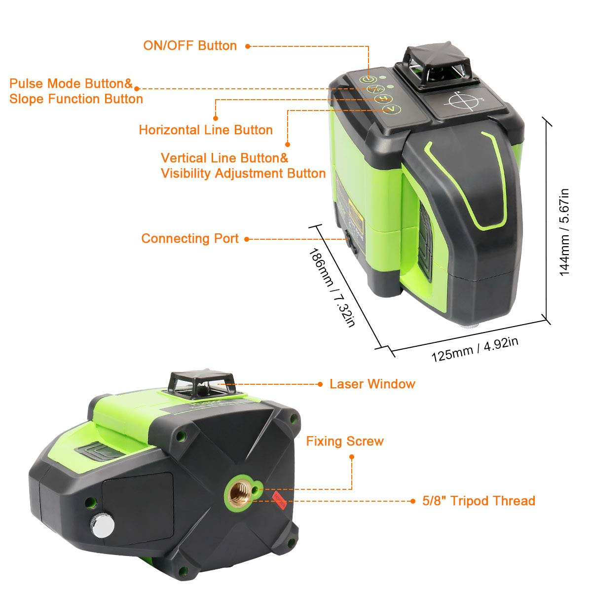 Adaptable Metal Base Included DT03G Dual Slope Function Huepar Electronic Self-Leveling 3D Green Beam Laser Level with Receiver 3x360 Cross Line Three-Plane Leveling and Alignment Line Laser Level