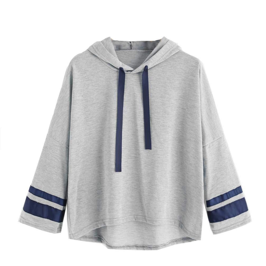 Spbamboo Womens Sweatshirt Long Sleeve Striped Print Hoodie Printing Blouse Tops