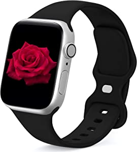 JINGMAX Sport Band Compatible with Apple Watch Band 42mm 44mm for Women Men, Soft Silicone Strap Replacement Wristband for iwatch Series SE/6/5/4/3/2/1 (for 42mm/44mm Black)