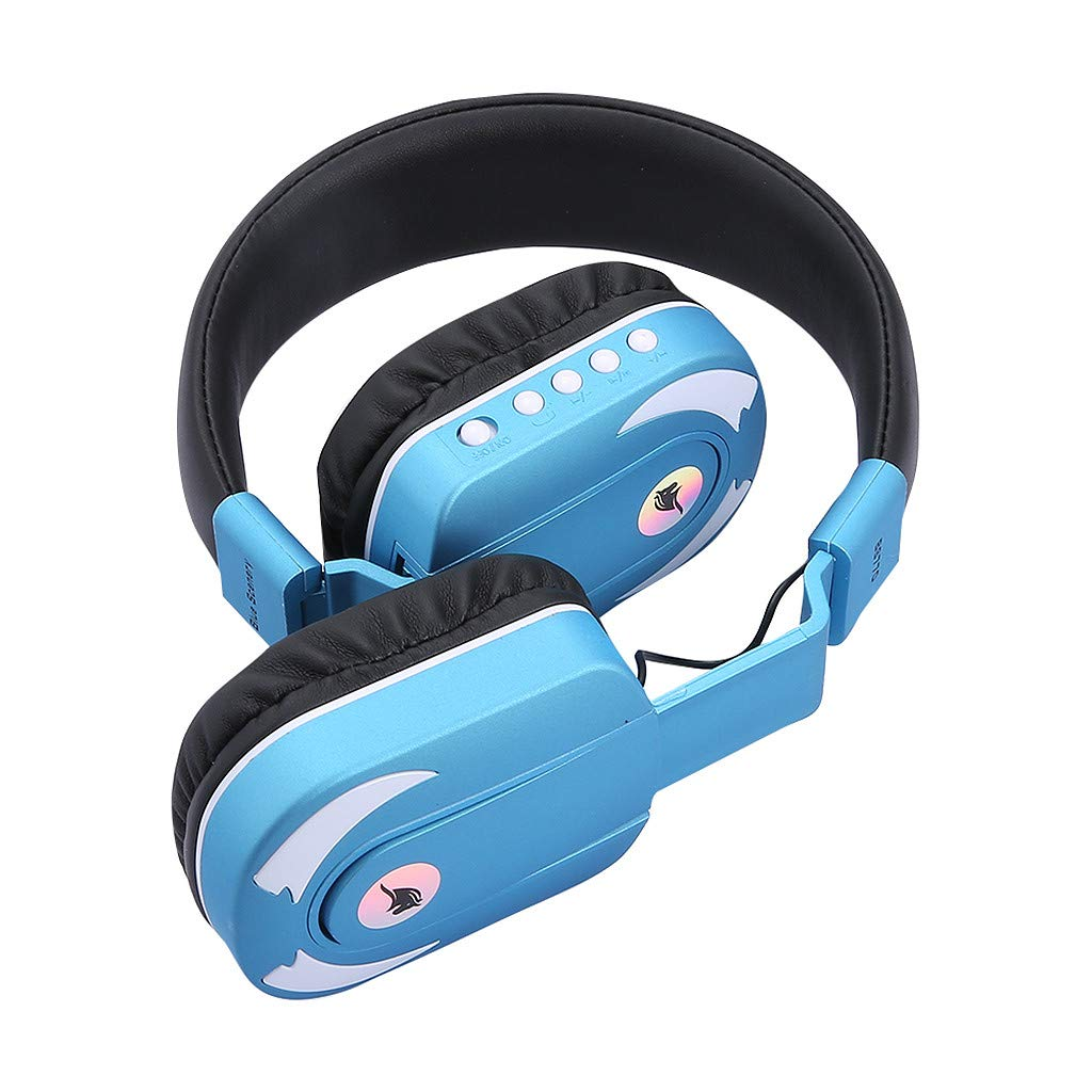 Han Shi Foldable Wireless Bluetooth Stereo Headphones LED Light Up Over Ear Headsets FM Radio Earphone for Sport/Travel(Blue)