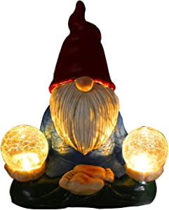 Zen Gnome Figure Garden Statues Naughty Meditation LED Light UP Magic Orb Outdoor Sculptures Patio Yard Lawn Figurine Decoration Resin