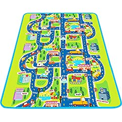 Tiny Wonders Kids Activity Creeping Play Mat, Baby Learning, Decor Rug w/Road Traffic, Infant Educational Car Carpet w/City Town Map, Large, Thick, Floor, Crawling, Bedroom, Playroom, Safe Area Game