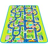 Tiny Wonders Kids Activity Creeping Play Mat, Baby Learning Decor Rug with Road Traffic, Infants Educational Car Carpet with City Town Map, Large and Thick for Floor Bedroom Playroom Safe Area Game