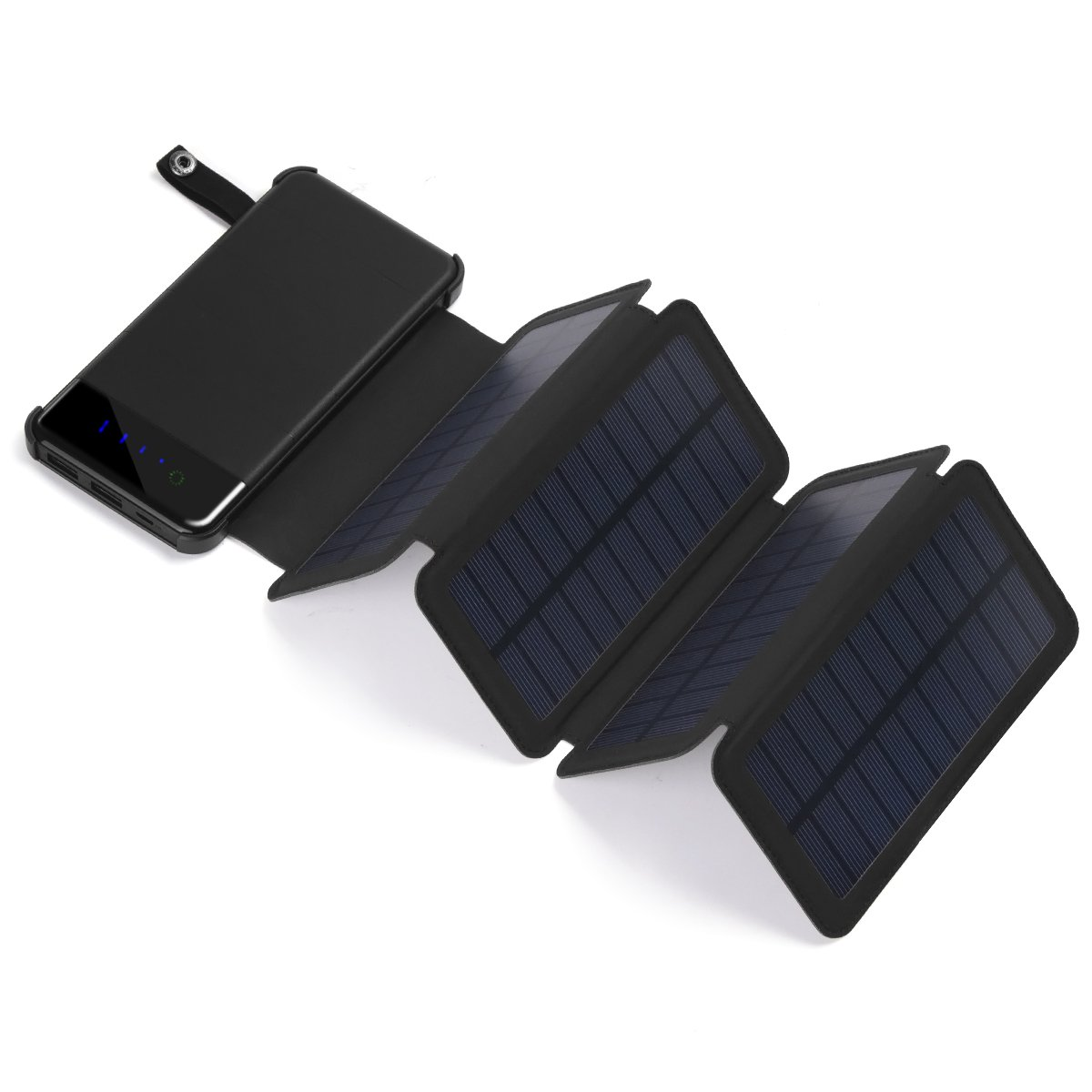Shinngo Solar Charger 8000 mAh Portable Power Bank with 4 Detachable Solar Panels Charger Dual 2.1A USB Port Foldable Battery Pack with LED Light for Outdoor Activities Suits for iPhone,Samsung etc