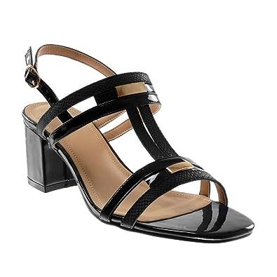 Angkorly - Chaussure Mode Sandale ouverte lanière cheville femme peau de serpent brillant lanière Talon haut bloc 7.5 CM - Noir - 0pHtg7