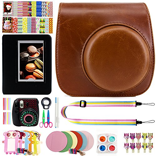 Elvam 12 in 1 Camera Accessory Bundles Set for Fujifilm Instax Mini 8 – Vintage Brown (Mini 8 Case/Camera Strap/Album/Film Frames/Stickers/Border Stickers/Lens/Filter/Owl Clip/Pens/Scissors)