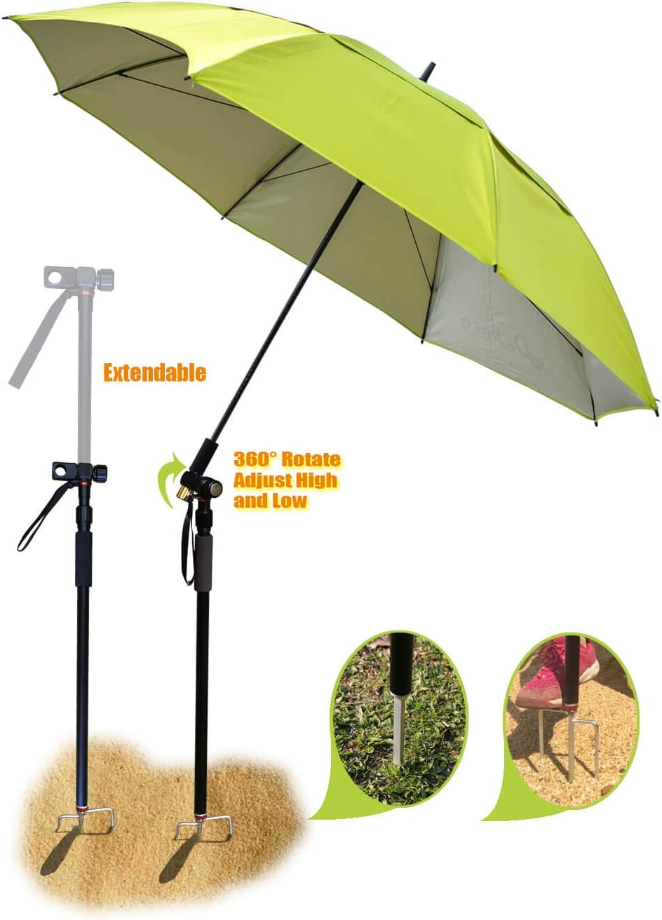 Fishing patio beach umbrella with 4.39lb, windproof waterprool portable Tilt and Telescoping Pole Sand Anchor sturdy umbrella, use for beach lawn back yard patio park shadezilla outdoor travel garden