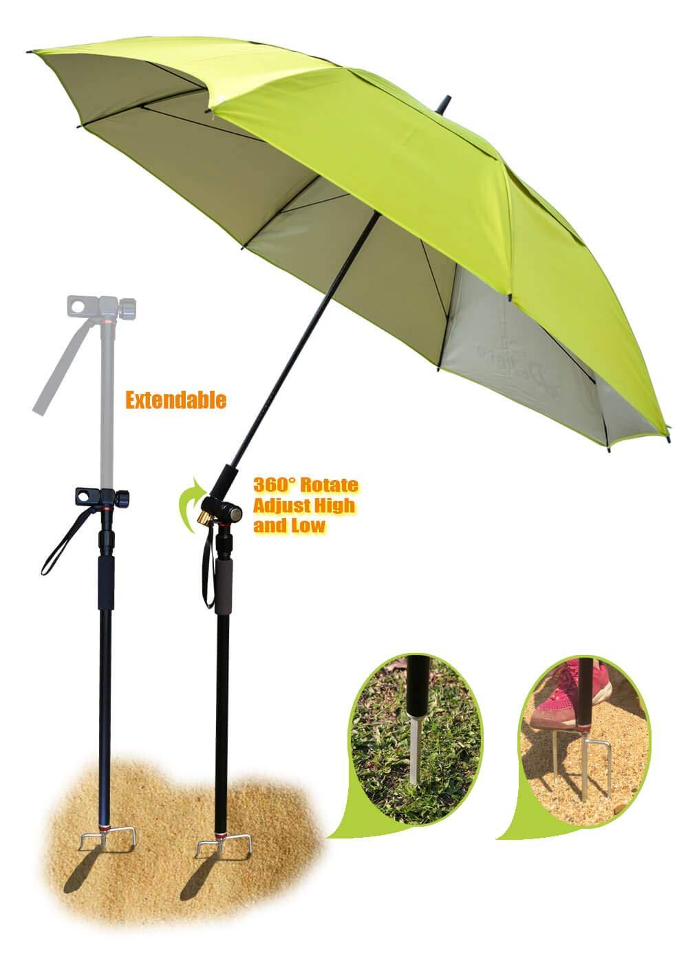 Fishing patio beach umbrella with 4.39lb, windproof/waterprool/portable Tilt and Telescoping Pole/Sand Anchor sturdy umbrella, use for beach/lawn/back yard/patio/park/shadezilla/outdoor travel/garden by Dekero
