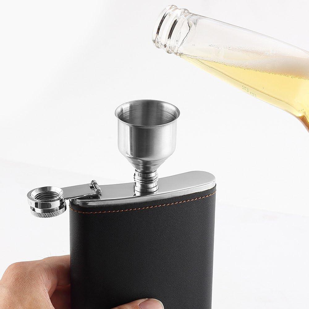Color : Style A QSCTYG Petaca 9 oz de Acero Inoxidable 304 Conjuntos de Hip matraz con 1 Embudo y 4 Copas de la Botella de Vino Whisky Flagon Vasos for los Regalos 29
