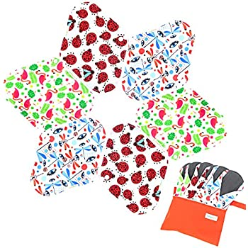 7pcs Set 1 pc Bonus Free Mini Wet Bag +6pcs Absorbent Reusable Sanitary Pads/Washable Bamboo Cloth Menstrual Pads (M,Gorgeous)