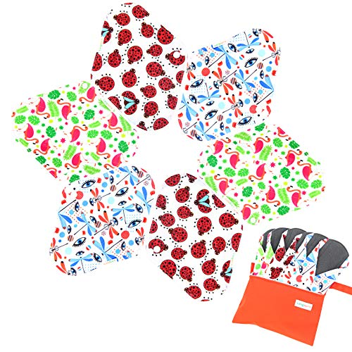 Langsprit Absorbent Reusable Sanitary Pads,6 Pieces Washable Bamboo Cloth Menstrual Pads with Bonus Free Mini Wet Bag(L,Gorgeous)